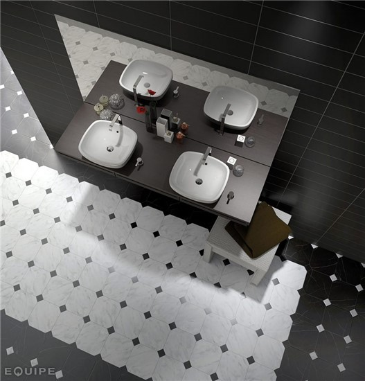 ΠΛΑΚΑΚΙΑ ΜΠΑΝΙΟΥ στο manetas.net με ποικιλία και τιμές σε πλακακια μπάνιου, κουζίνας, εσωτερικου και εξωτερικού χώρου equipe-octagonmarmolblanconegro.jpg